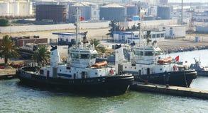 Tugboats przy portem los angeles Goulette Zdjęcia Royalty Free