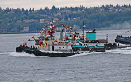 Tugboats racing Royalty Free Stock Photo