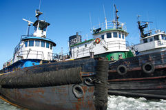 Tugboats in Winter Royalty Free Stock Photography