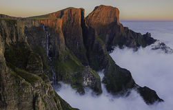 Tugela Falls with sunkissed peaks Royalty Free Stock Photography