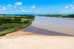 Tugela-Fluss-Strand-Zuckerrohr-Luft Lizenzfreies Stockfoto
