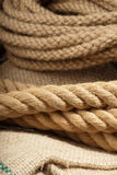 Tugging rope. Used boat rope ready for the next tug Royalty Free Stock Photos