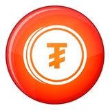 Tugrik coin icon, flat style Stock Images