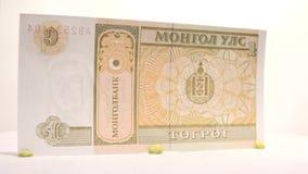 1 Tugrik Paper Bill stock footage
