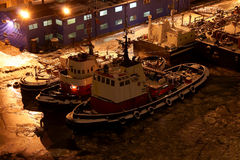 Tugs. Top view of  the tugs waiting to  work Stock Photography