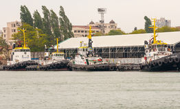 Tugs in anticipation of the withdrawal of vessels of sea port of Burgas in Bulgaria Royalty Free Stock Photography