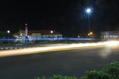 Tugu Muda Semarang. Moon and Tugu Muda Semarang Indonesia at night Royalty Free Stock Photography