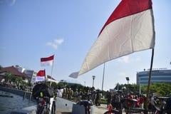Tugumuda flag ceremony is unique in Semarang Stock Image