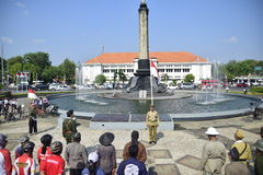 Tugumuda flag ceremony is unique in Semarang. Independence Day commemorates the 71st, Member dozens Semarang Onthel Community (SOC), August 17, 2016, Conduct royalty free stock photos