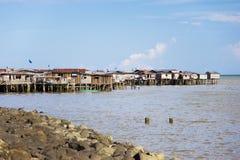 Tugurios costeros de Tawau imagen de archivo libre de regalías