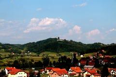 Tuhelj, Zagorje, Croatia landscape. From balcony, old church on the hill Stock Photo