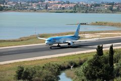 TUI Airways aircraft. Taxiing for take off at the Corfu International Airport, Greece. TUI Airways is the world`s largest charter airline, offering scheduled stock images