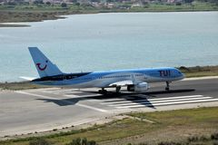 TUI Airways aircraft. Taxiing for take off at the Corfu International Airport, Greece. TUI Airways is the world`s largest charter airline, offering scheduled stock image