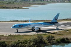 TUI Airways aircraft. Taxiing for take off at the Corfu International Airport, Greece. TUI Airways is the world`s largest charter airline, offering scheduled royalty free stock photo