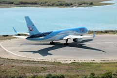 TUI Airways aircraft. Taxiing for take off at the Corfu International Airport, Greece. TUI Airways is the world`s largest charter airline, offering scheduled stock photo