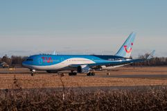 TUI Boeing 767-300 airplane in Copenhagen airport. Copenhagen Denmark - March 18. 2018: TUI Boeing 767-300 airplane in Copenhagen airport Royalty Free Stock Photography