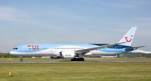 TUI boeing 787-9 dreamliner just starting to take off at Manchester Airport Stock Photos