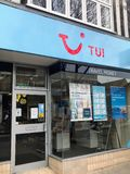 TUI store. TUI Group  short for Tourism Union International  is an Anglo-German travel and tourism company headquartered in Hannover, Germany. It is the largest royalty free stock images