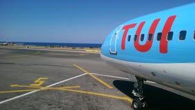 Tui samolotu wakacje Crete Obrazy Royalty Free