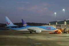 Tui vliegtuigen, Boeing 737 maximum 8 royalty-vrije stock afbeeldingen