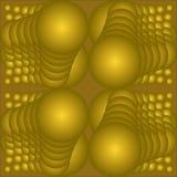 Tuile abstraite d'or avec des sphères d'op-art, 3d illusion, élément décoratif, modèles géométriques sur le fond d'or, illustration de vecteur