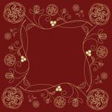 Tuile avec le motif d'or fin de fleur dans le style d'art déco sur le fond rouge foncé Image stock