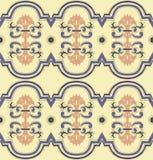 Tuile beige bleue d'arabica de fleur de dalle de tuile images stock