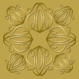 Tuile d'or luxueuse avec l'ornement en plastique de vintage, fond élégant de vecteur pour des boîte-cadeau, paquets Images libres de droits