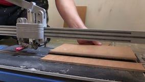 Tuile de coupe de travailleur avec le coupeur professionnel Outil de travail de rénovation banque de vidéos