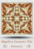 Tuile de faïence Carreau de céramique en vert beige et olive et terre cuite de rouge Majolique en céramique de vintage Elemen esp Image libre de droits