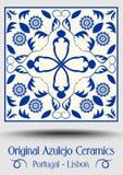 Tuile de poterie de majolique, azulejo bleu et blanc, décor traditionnel original de Portugais et de l'Espagne Photo stock