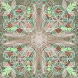 Tuile fine dans le style d'art déco avec des modèles de dentelle au pastel rouge et vert Image libre de droits