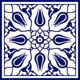 Tuile florale bleue carrée turque Art Pattern illustration libre de droits