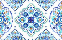 Tuile marocaine sans couture de motif - aqua, turquoise et or illustration stock