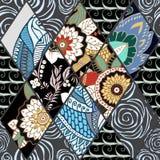 Tuile sans couture abstraite de patchwork avec l'ornement floral l'arabe ou Images stock
