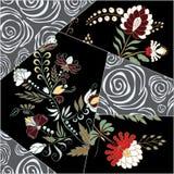 Tuile sans couture abstraite de patchwork avec l'ornement floral l'arabe ou Image stock