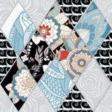 Tuile sans couture abstraite de patchwork avec l'ornement floral l'arabe ou Photo stock