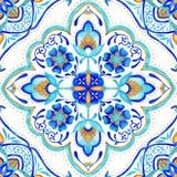 Tuile sans couture de médaillon marocain - aqua, turquoise et or illustration stock