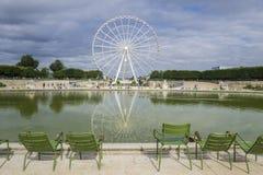 Tuileries庭院和弗累斯大转轮 库存图片