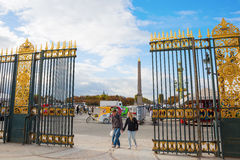 Tuileries庭院的入口在巴黎,法国 库存照片