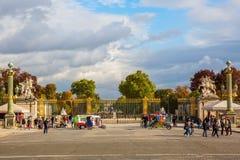 Tuileries庭院的入口在巴黎,法国 免版税库存图片
