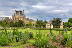 Tuileries Garden and Louvre museum. Paris, France. Royalty Free Stock Photography