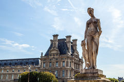 Tuileries garden statue. Tuileries Garden (Jardin des Tuileries) is a public garden located near Louvre Museum. Royalty Free Stock Photo
