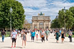 The Tuileries Garden on a summer day in Paris Royalty Free Stock Photography