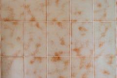 tuiles beiges de salle de bains des années 1970 photographie stock libre de droits