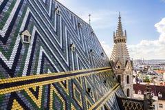 Tuiles de toit de St Stephen &#x27 ; cathédrale de s, Vienne, Autriche Image libre de droits