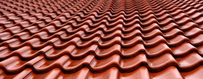 Tuiles de toit humides oranges Photographie stock libre de droits
