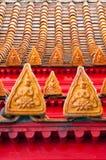 Tuiles de toit thaïes de temple de bouddhisme de type Images stock