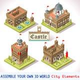 Tuiles du château 01 isométriques Images stock