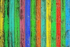 Tuiles en bois colorées Fond en bois coloré Texte chic minable Image stock